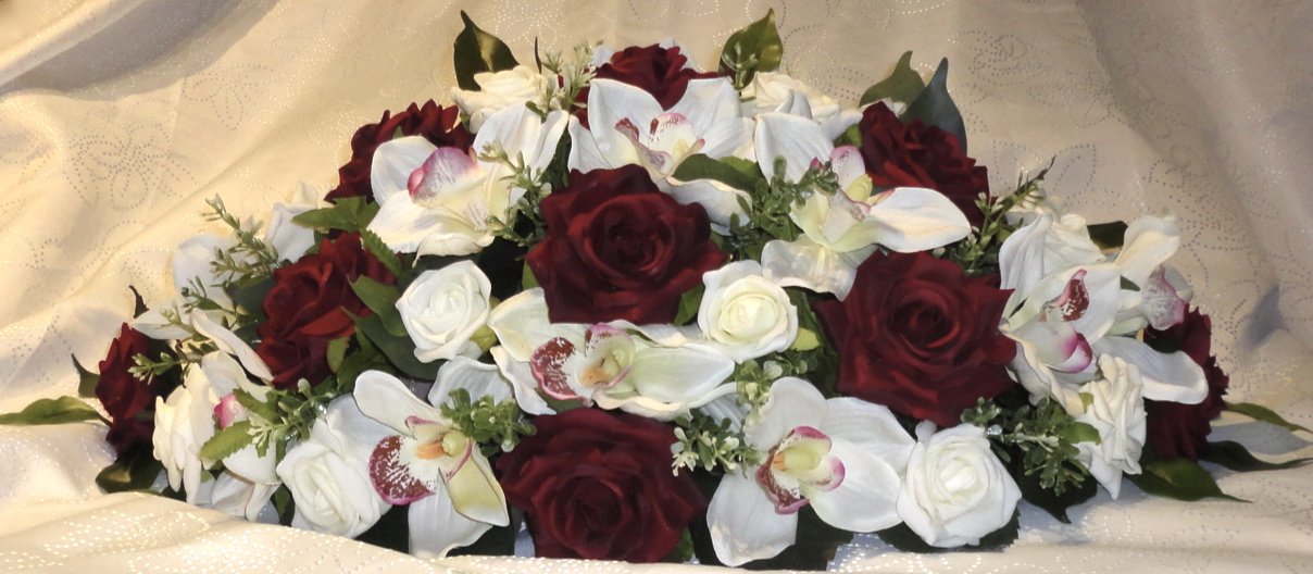Burgundy and Ivory Orchid and Rose Centrepiece