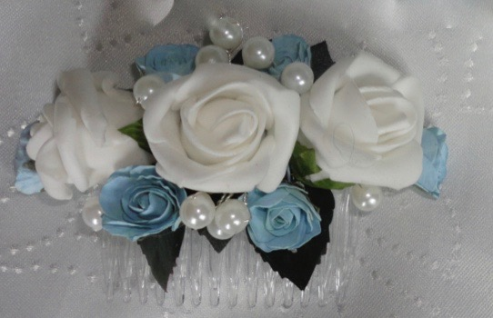 White & Baby Blue Hair Comb with Pearls