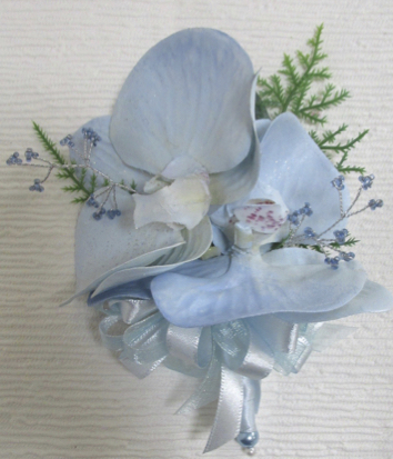 Pale Blue Sparkle Orchid Corsage With Blue Gem Sprays