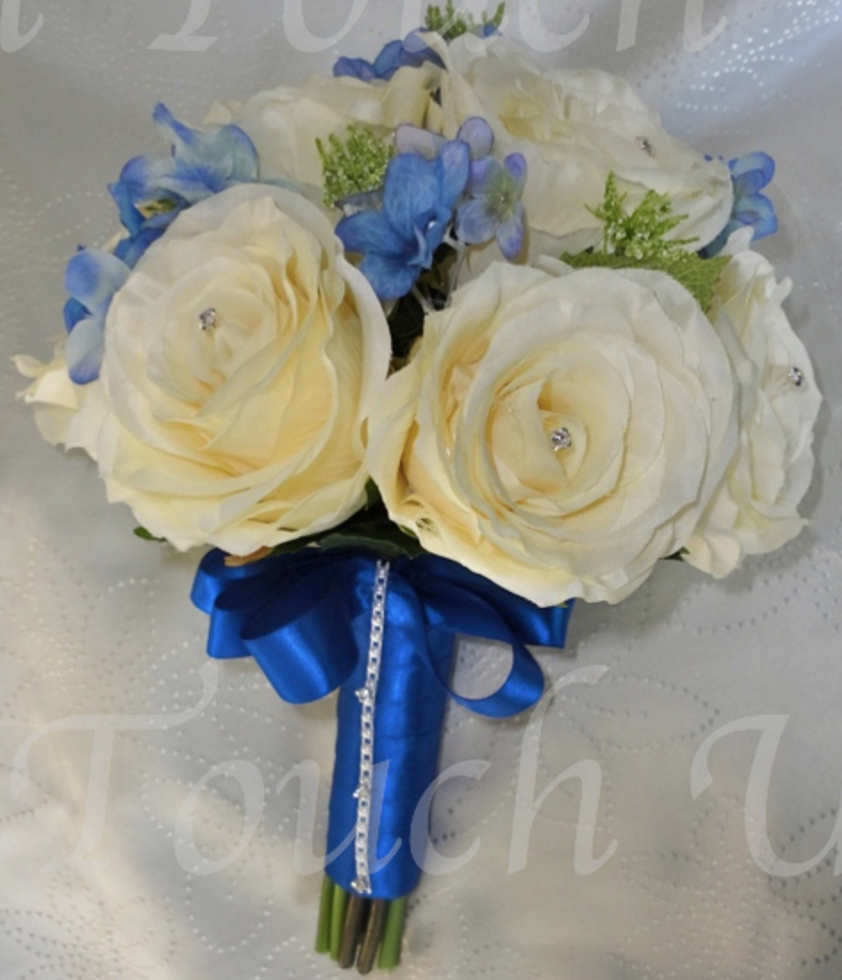 Ivory, Blue & Royal Blue Bridesmaid Bouquet