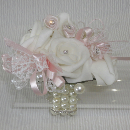 Pale Ivory & Light Blush Pink Wrist Corsage