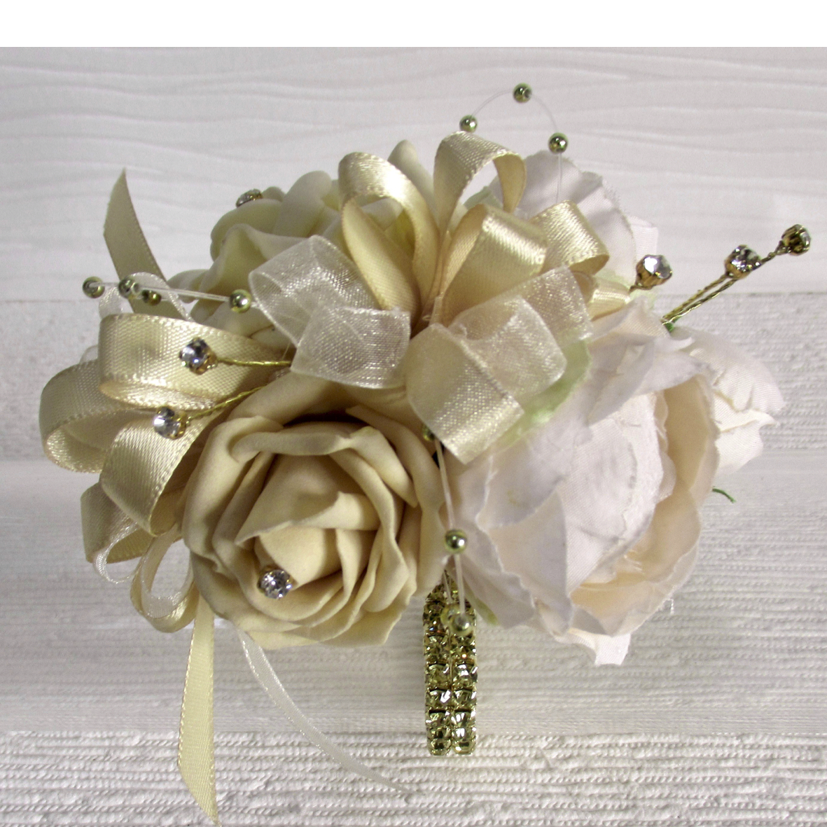 Pale Gold & Cream Rose & Peony Wrist Corsage