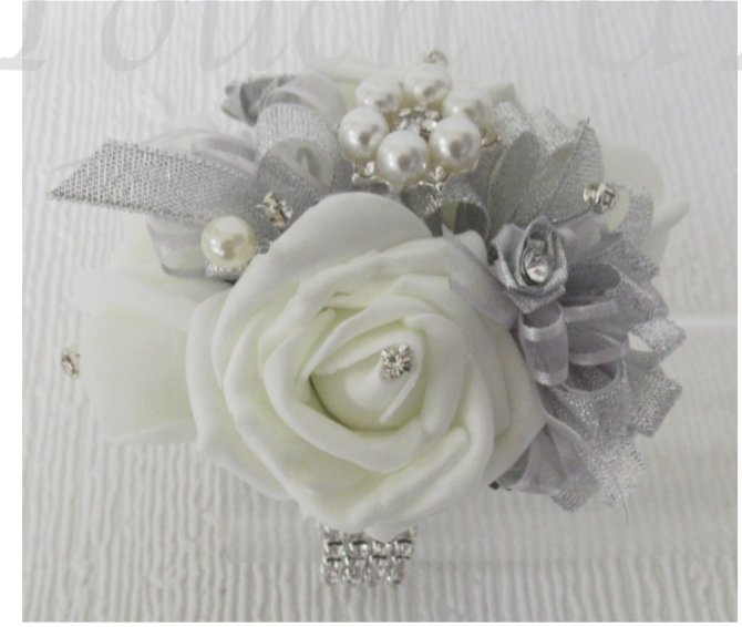 Silver & Pale Ivory Sparkly Wrist Corsage
