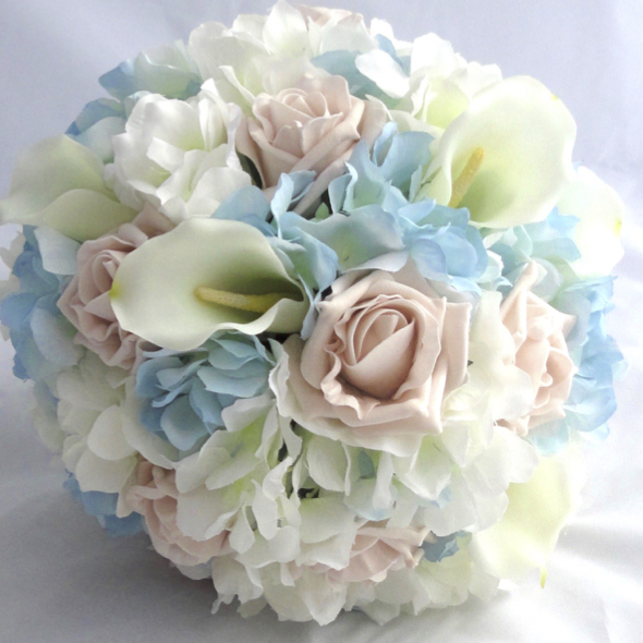 Pastel Blue & Blush Wedding Bouquet