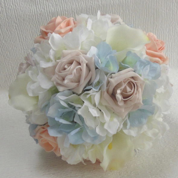 Peach, Baby Blue & Blush Bridesmaid Bouquet