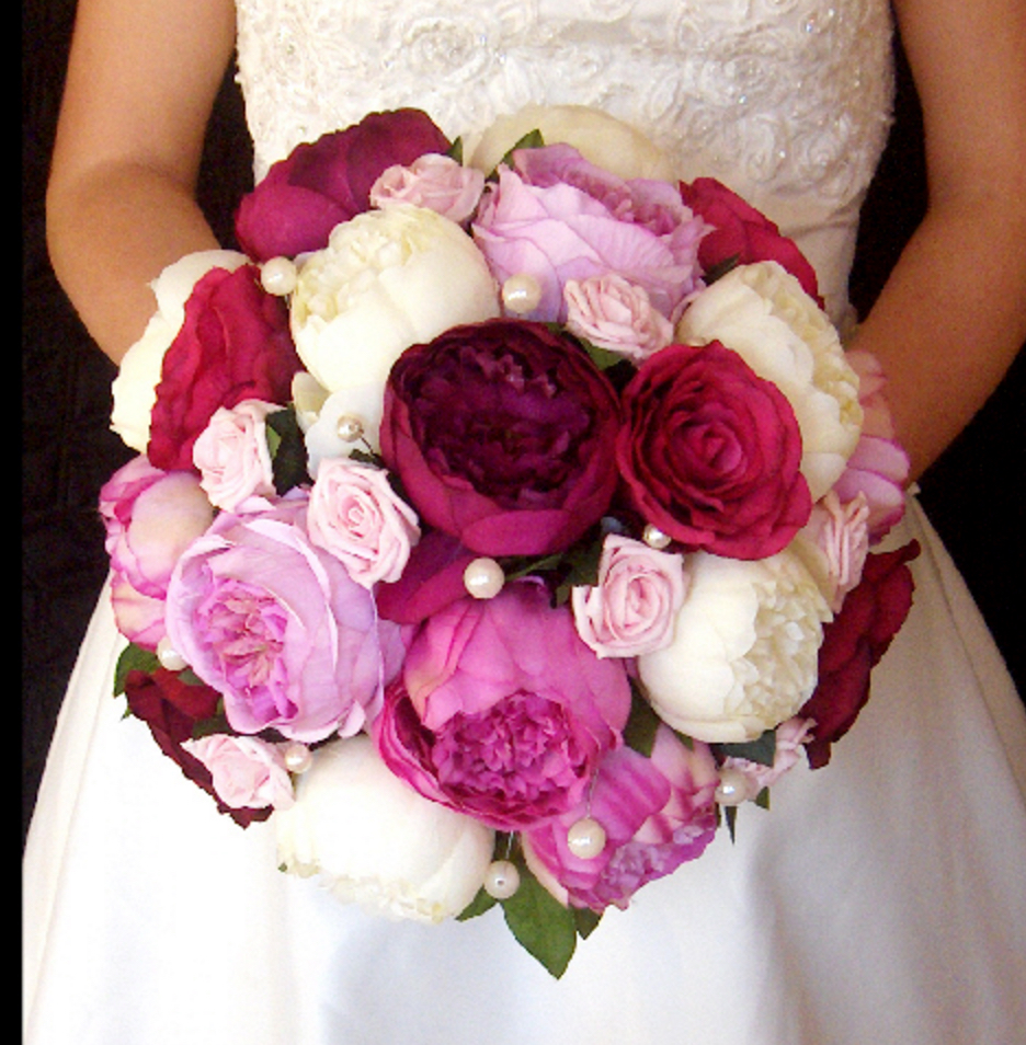 Peony and Rose Bridal Bouquet with Pearls