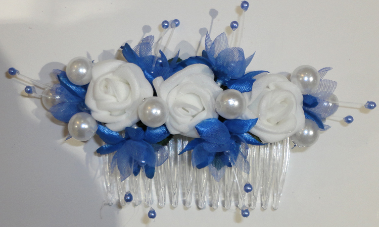 Periwinkle & White Bridesmaid Hair Comb