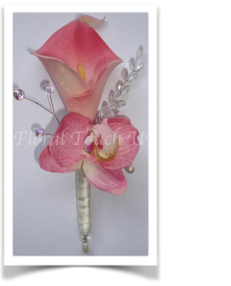 Pink Real Touch Calla & Orchid Buttonhole/Corsage