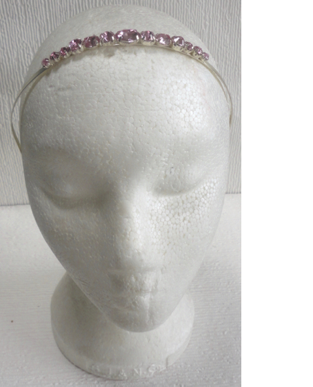 Silver &  Pink Crystal Bridesmaid Head Band