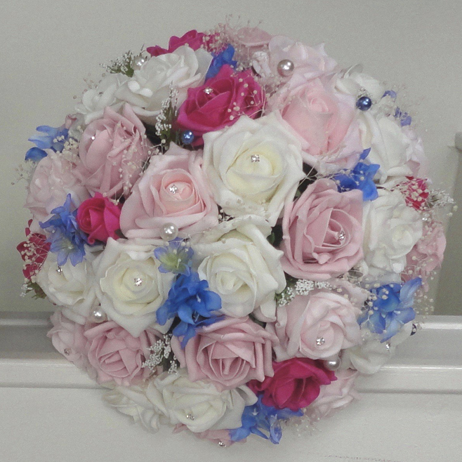 Pink, Ivory & Blue Bridal Bouquet