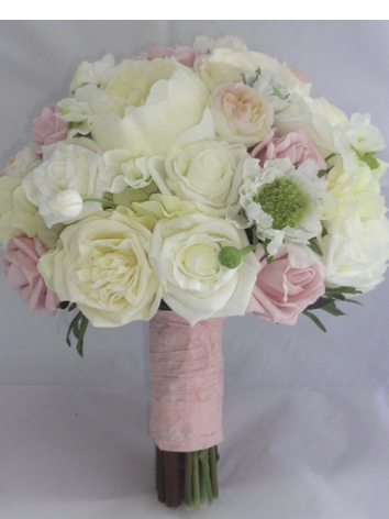Pink, Cream & Ivory Romantic Silk Wedding Bouquet
