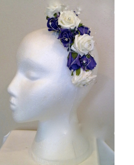 Bridesmaid Purple & Ivory Hair Comb with Diamante
