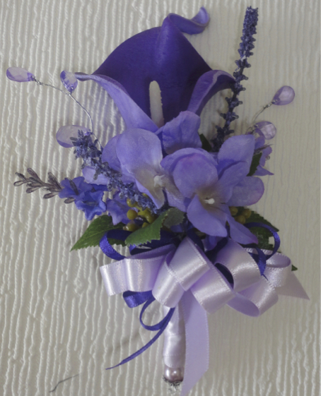 Purple Real Touch Calla Lily With Hydrangea & Lavender