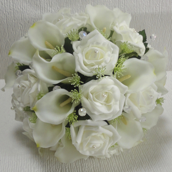 Ivory Real Touch Calla Lily & Lifelike Rose Wedding Bouquet