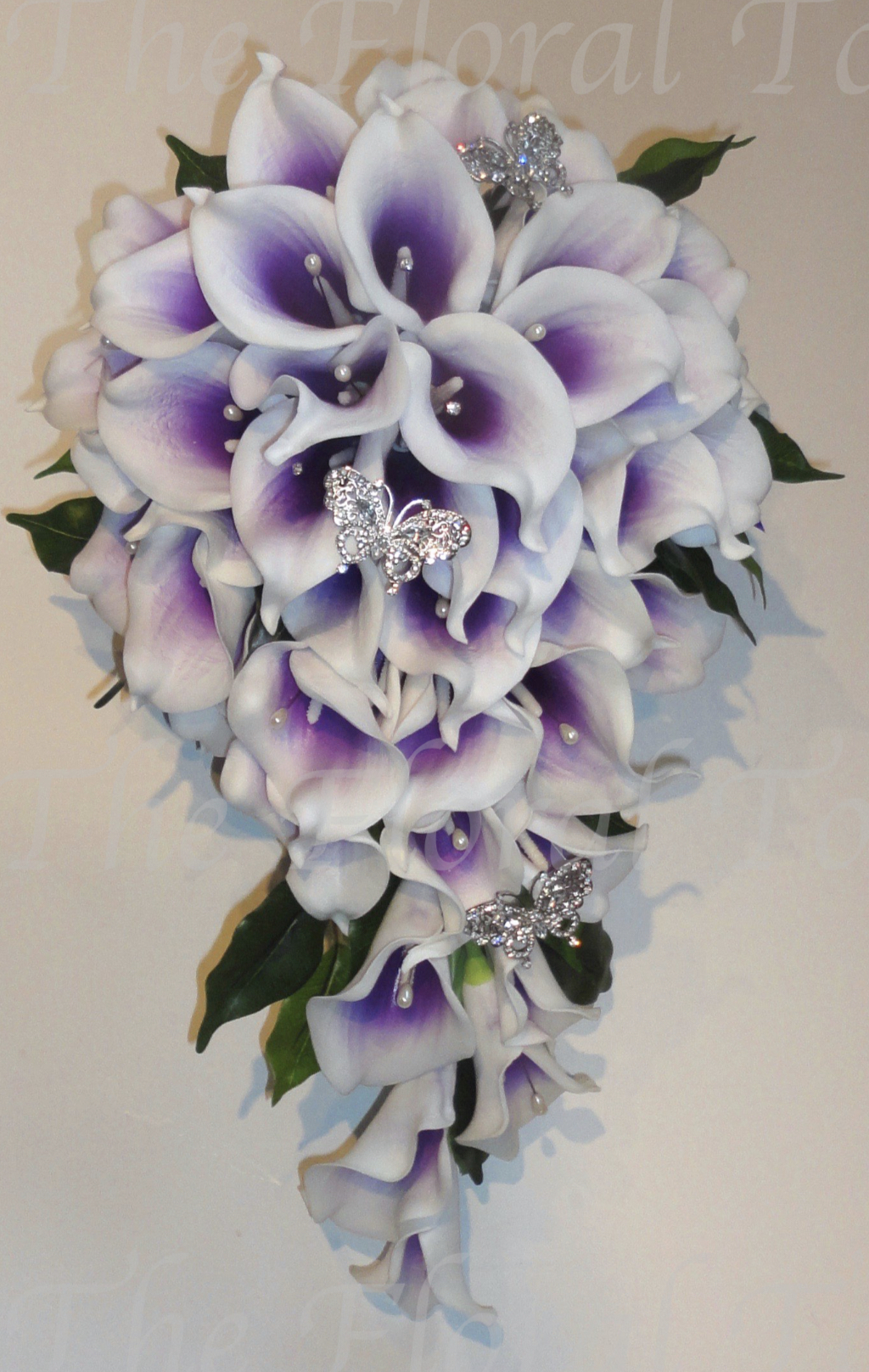 Real Touch Calla Lily Shower Bouquet with diamante butterflies