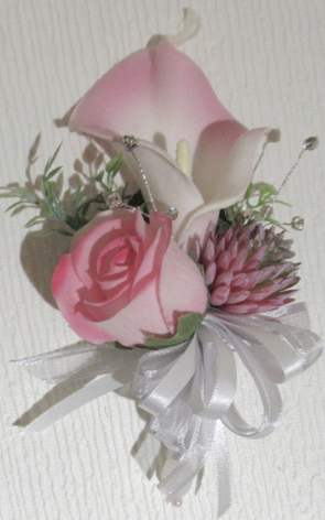 Pink Corsage - Real touch calla lily, fresh touch rose bud and real touch succulent