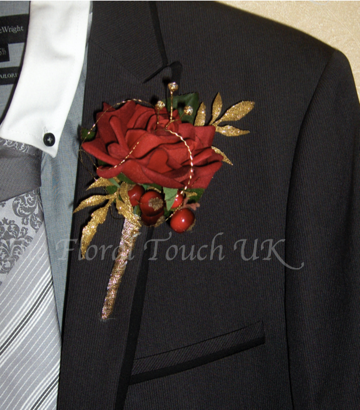 Deep Red Silk Rose with Gold Leaves and Red Berries