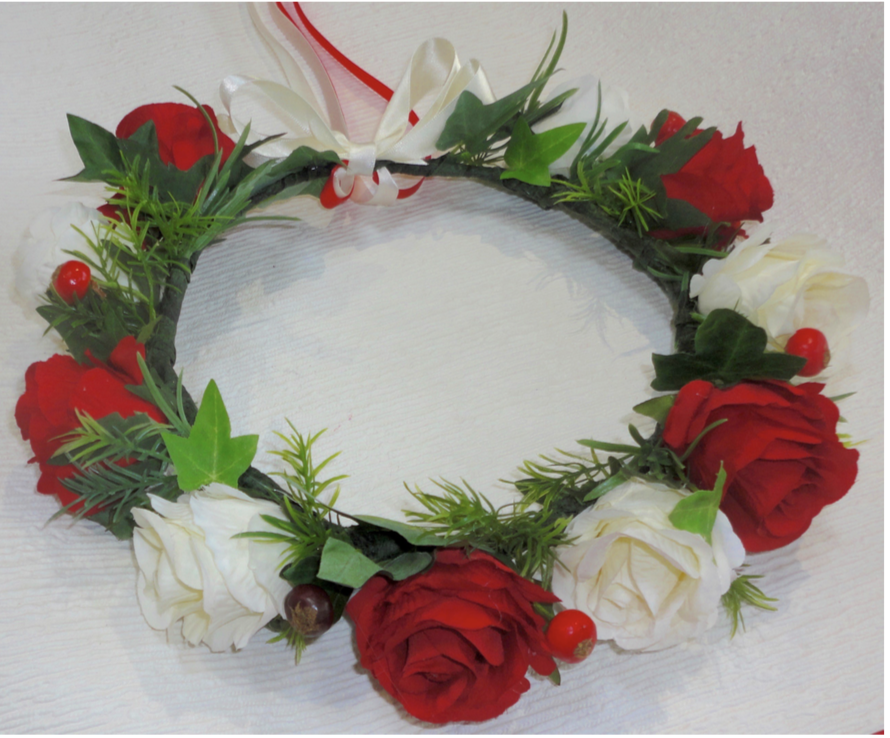 Red & Ivory Rose Crown Headdress