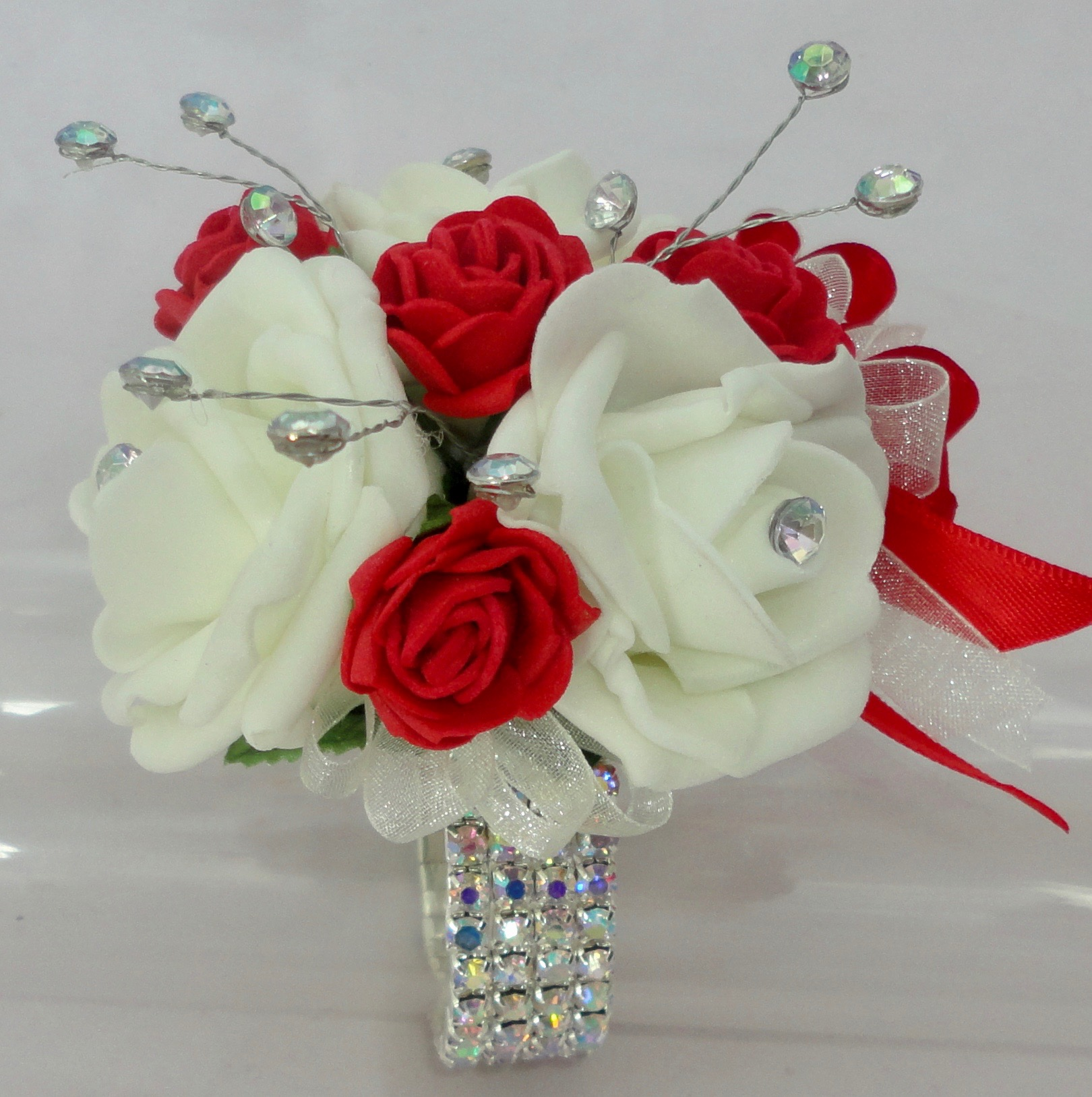 Red & Ivory Crystal Wrist Corsage