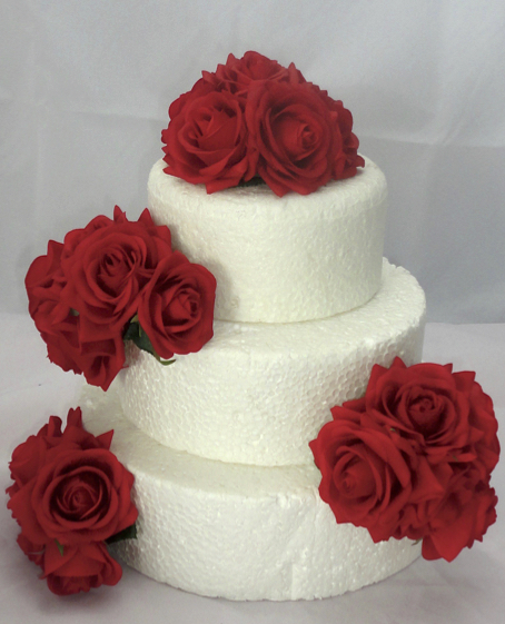 Fresh Touch Red Rose Cake Flowers