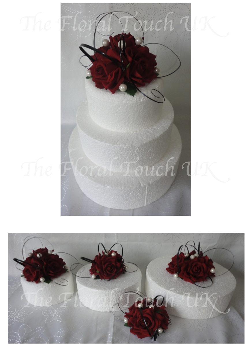 Red Rose Cake Topper With Beargr Pearls