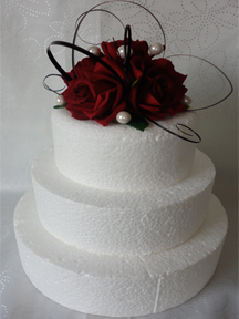 Red Rose Cake Topper With Beargrass & Pearls