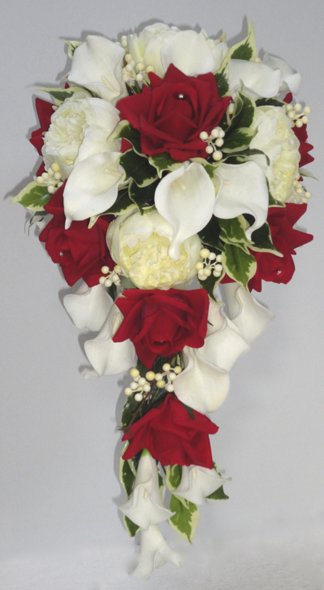 Fresh Touch Rose & Calla Lily Bridal Bouquet with Silk Peonies