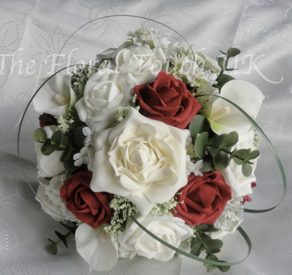 Red and Ivory Rose and calla lily Bridal Bouquet