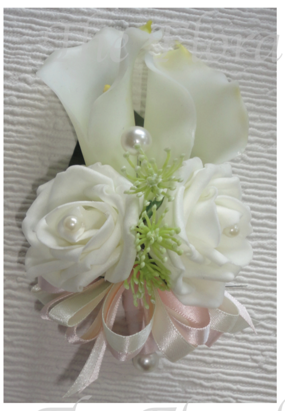 Ivory Rose & Calla Lily Corsage - Choice of Ribbon Colour