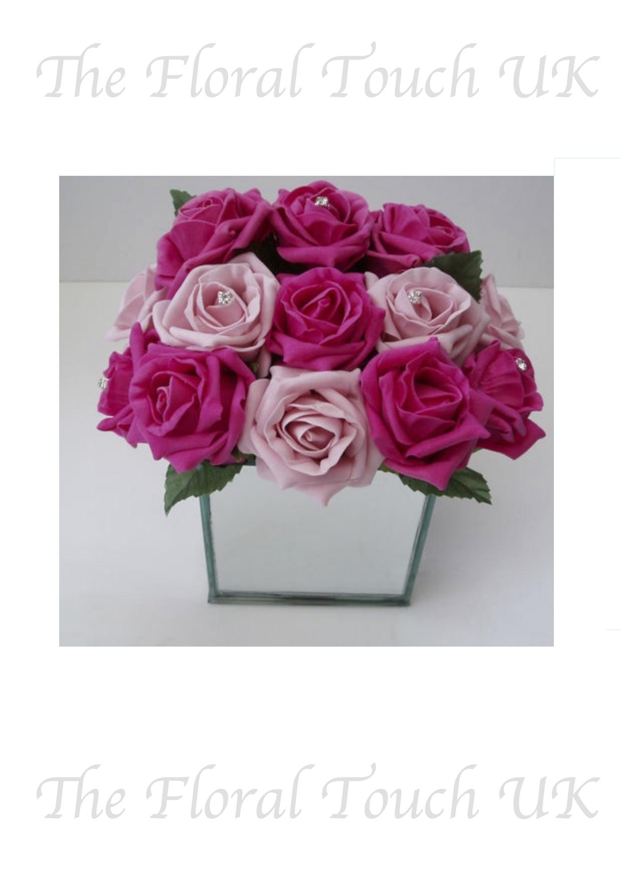 Rose Centrepiece Mirror Cube
