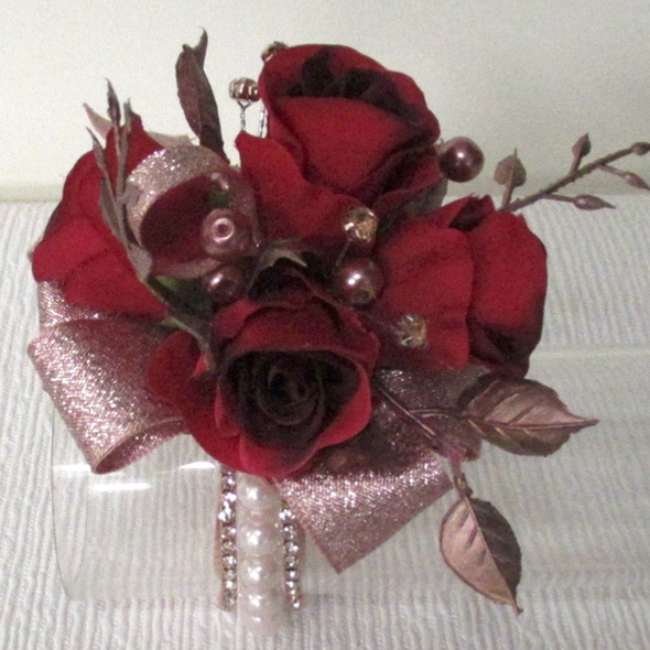 Rose Gold & Ruby Red Rose Bud Wrist Corsage