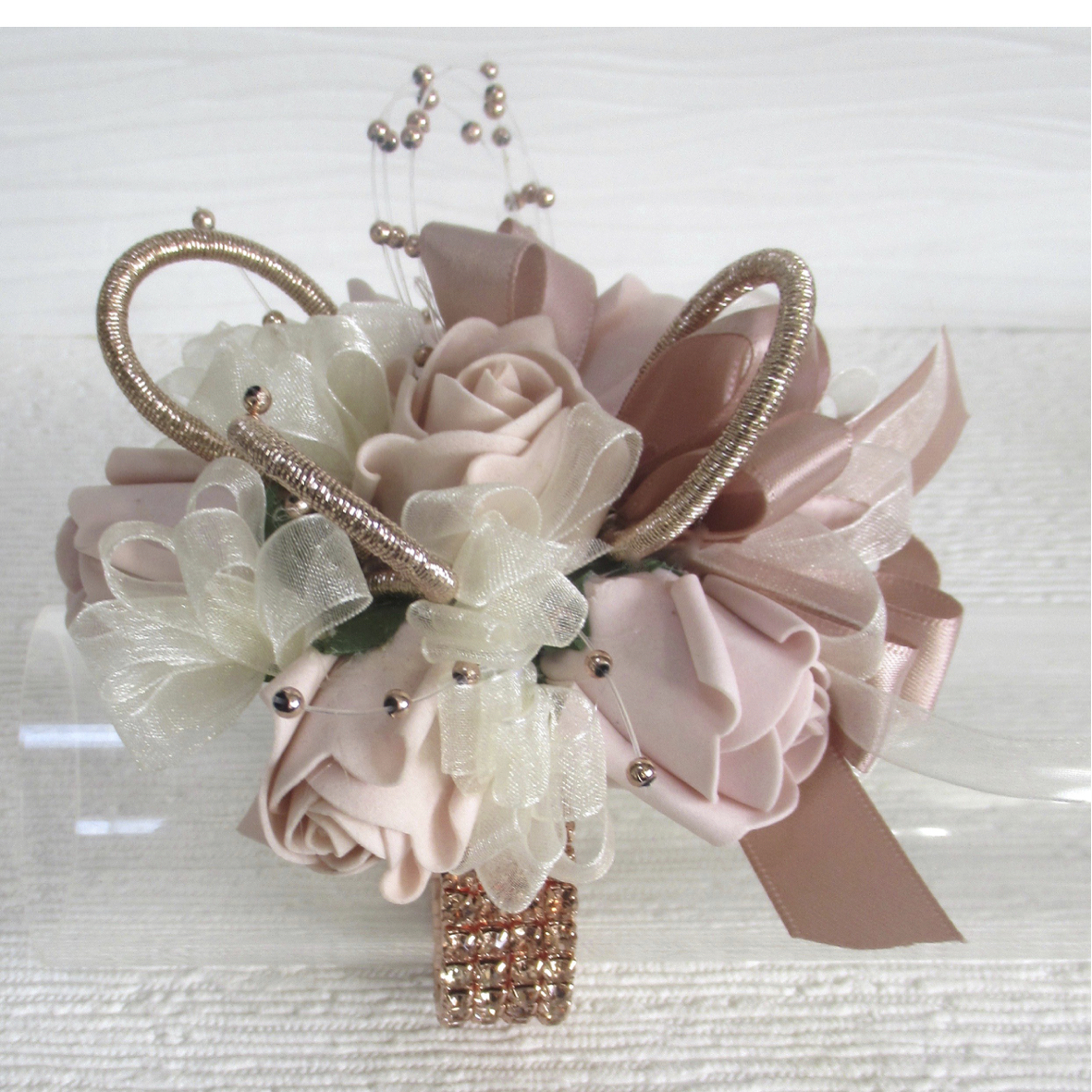 Blush Pink & Rose Gold Wrist Corsage