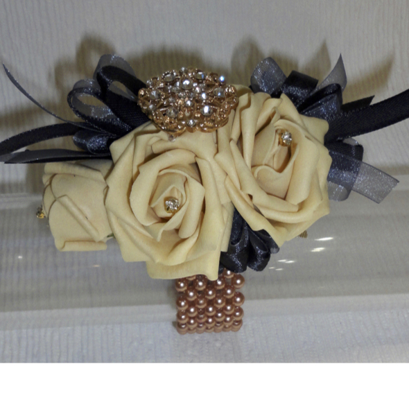 Rose Gold & Champagne Gold Wrist Corsage