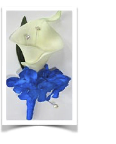 Real Touch Ivory Calla Lily Buttonhole With Royal Blue Hydrangea