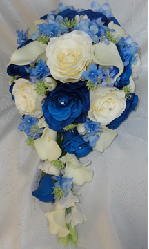 Royal Blue & Ivory Calla Lily & Rose Wedding Bouquet