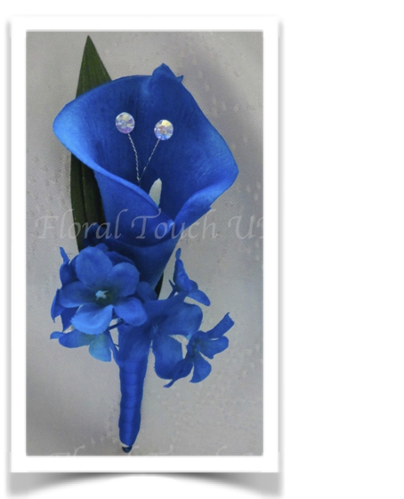Royal Blue Calla Lily and Hydrangea Buttonhole