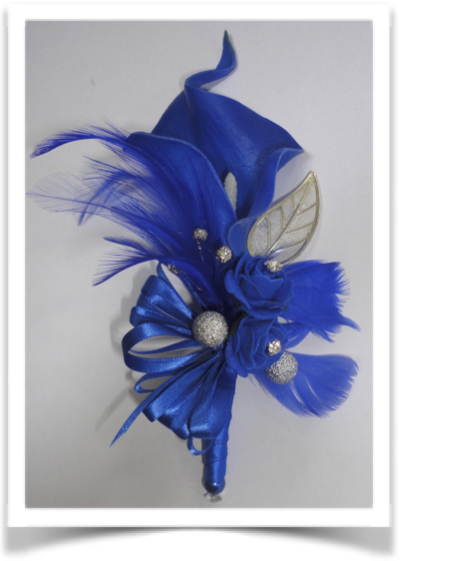 Royal Blue Calla Lily & Feather Corsage