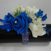 Royal Blue & Ivory Wrist Corsage