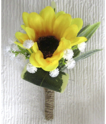 Rustic Single Sunflower Buttonhole with Gyp