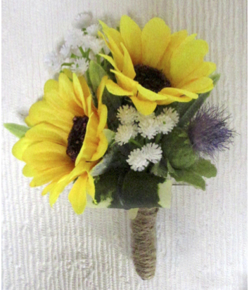 Rustic Double Sunflower Buttonhole with Thistle & Gyp