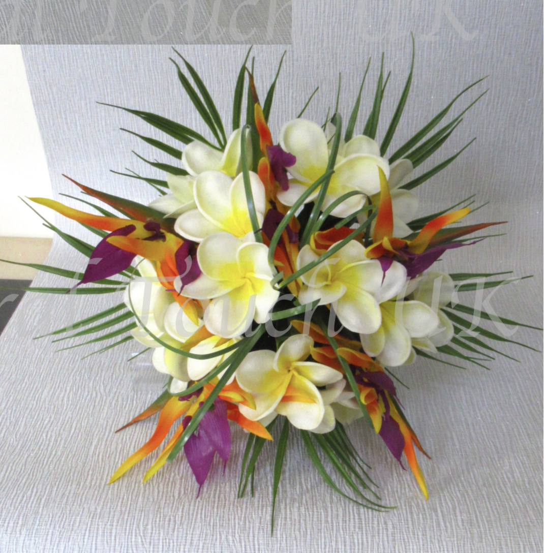 Real Touch Bird Of Paradise & Plumeria Bridal Bouquet with Palm Leaf Foliage & Beargrass