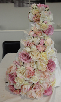 Fairytale Cascading Cake Display & Topper - Vintage pinks, Creams & Ivory