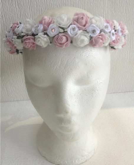 Vintage Pink & White Rose & Diamante Circlet