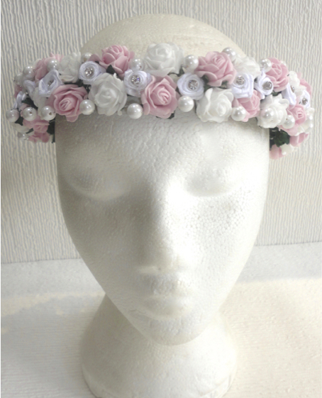 Vintage Pink & White Rose, Pearl & Diamante Circlet