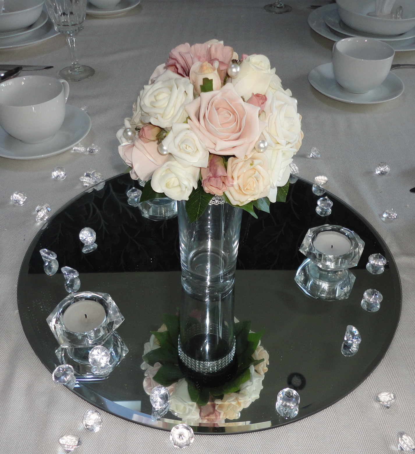 Vintage Pinks Champagne Ivory Table Posy Centrepiece