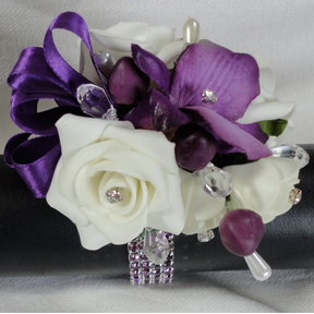 Purple Orchid and Ivory Rose Wrist Corsage