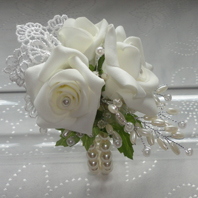 Vintage Style Rose & Pearl Wrist Corsage