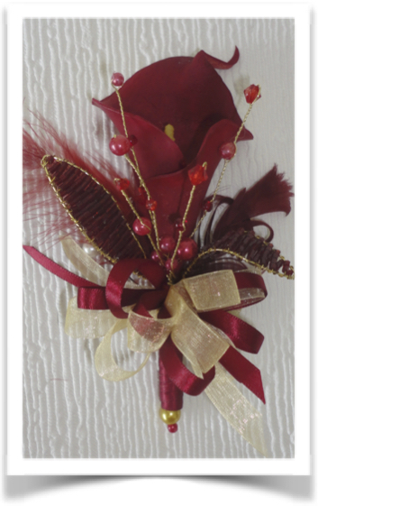 Burgundy/Deep Red & Gold Calla Lily & gem Corsage