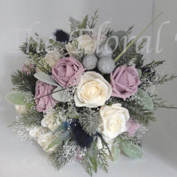 Christmas winter wedding bouquets dusky pink cream bridal bouquet a beautiful lifelike wedding bouquet of dusky pink cream lifelike polyfoam roses with blue eryngium thistles mightylinksfo
