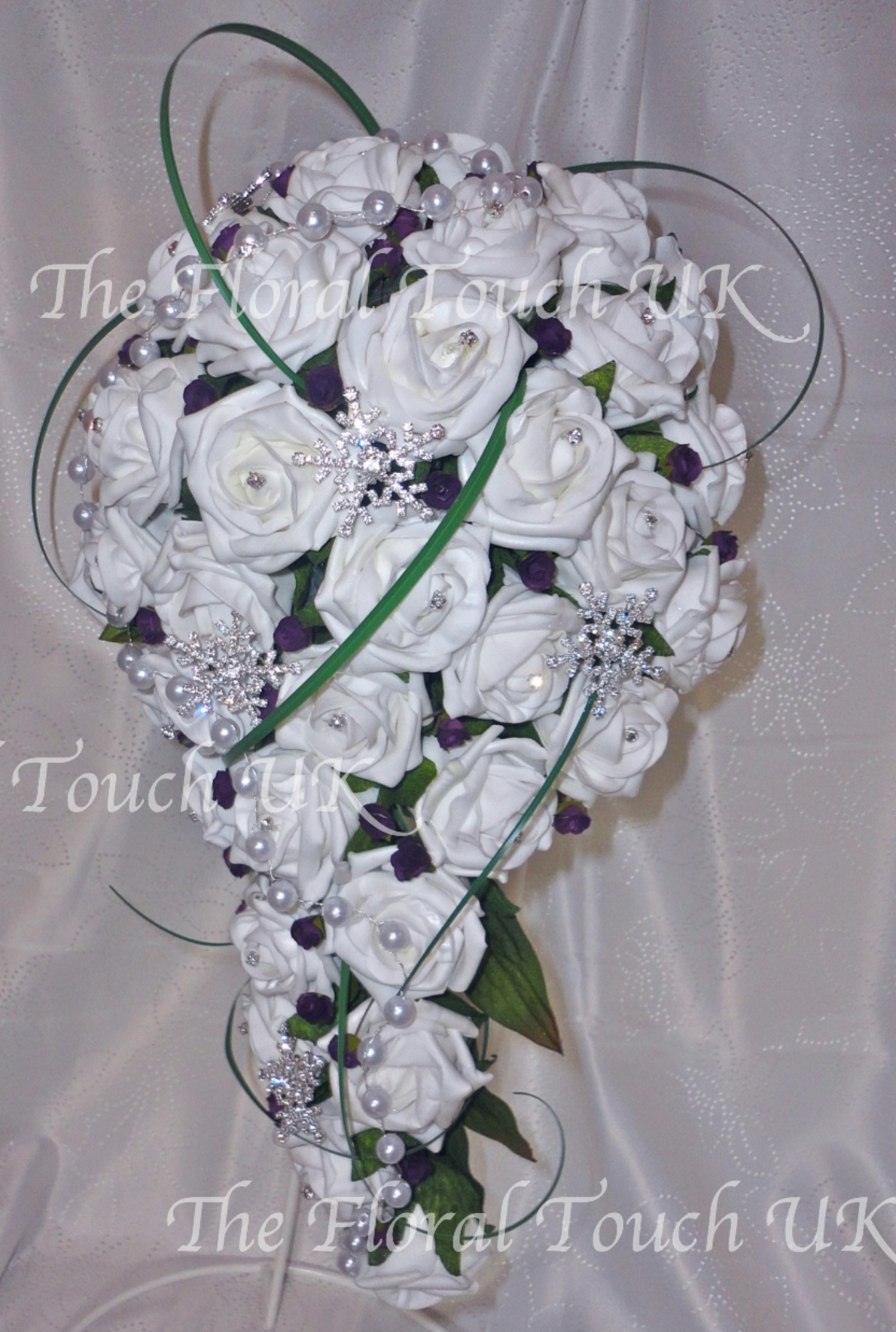 Plum & White Bridal Teardrop Style Wedding Bouquet